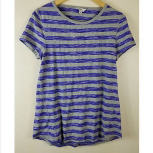 Lucky Lotus Gray Purple Stripe T Shirt Top Opened